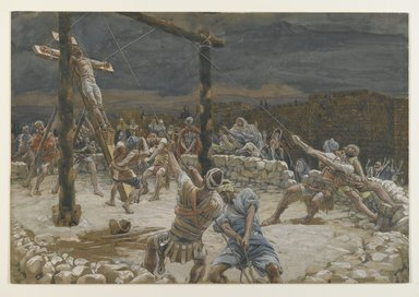 James Tissot (French, 1836-1902). <em>The Raising of the Cross (L'élévation de la Croix)</em>, 1886-1894. Opaque watercolor over graphite on gray wove paper, Image: 9 15/16 x 14 9/16 in. (25.2 x 37 cm). Brooklyn Museum, Purchased by public subscription, 00.159.294 (Photo: Brooklyn Museum, 00.159.294_PS2.jpg)