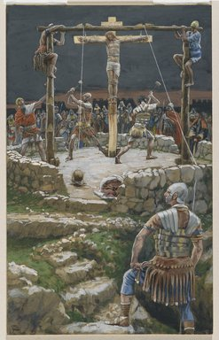 James Tissot (French, 1836-1902). <em>The Five Wedges (Les Cinq coins)</em>, 1886-1894. Opaque watercolor over graphite on gray wove paper, Image: 11 11/16 x 7 5/16 in. (29.7 x 18.6 cm). Brooklyn Museum, Purchased by public subscription, 00.159.295 (Photo: Brooklyn Museum, 00.159.295_PS2.jpg)