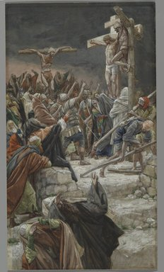 James Tissot (French, 1836-1902). <em>The Pardon of the Good Thief (Le pardon du bon Larron)</em>, 1886-1894. Opaque watercolor over graphite on gray wove paper, Image: 14 1/4 x 8 1/16 in. (36.2 x 20.5 cm). Brooklyn Museum, Purchased by public subscription, 00.159.296 (Photo: Brooklyn Museum, 00.159.296_PS2.jpg)
