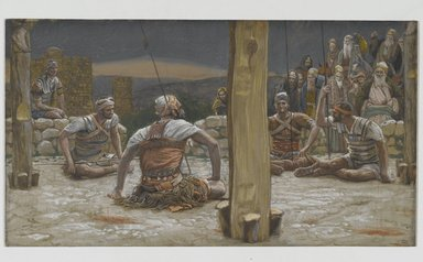 James Tissot (French, 1836-1902). <em>The Four Guards Sat Down and Watched Him (Les quatre gardes s'assirent et le gardèrent)</em>, 1886-1894. Opaque watercolor over graphite on gray wove paper, Image: 5 3/4 x 10 3/8 in. (14.6 x 26.4 cm). Brooklyn Museum, Purchased by public subscription, 00.159.298 (Photo: Brooklyn Museum, 00.159.298_PS2.jpg)