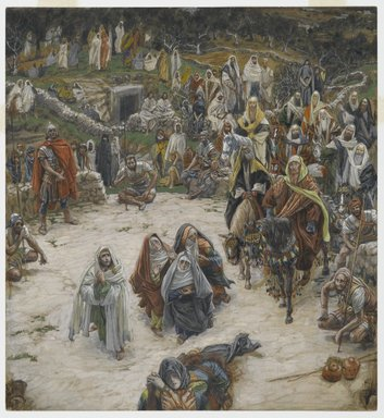 James Tissot (French, 1836-1902). <em>What Our Lord Saw from the Cross (Ce que voyait Notre-Seigneur sur la Croix)</em>, 1886-1894. Opaque watercolor over graphite on gray-green wove paper, Image: 9 3/4 x 9 1/16 in. (24.8 x 23 cm). Brooklyn Museum, Purchased by public subscription, 00.159.299 (Photo: Brooklyn Museum, 00.159.299_PS2.jpg)
