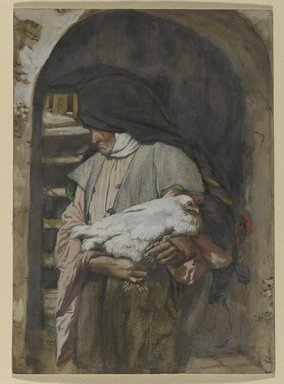 James Tissot (French, 1836-1902). <em>Saint Anne (Sainte Anne)</em>, 1886-1894. Opaque watercolor over graphite on gray wove paper, Image: 8 1/16 x 5 13/16 in. (20.5 x 14.8 cm). Brooklyn Museum, Purchased by public subscription, 00.159.29 (Photo: Brooklyn Museum, 00.159.29_PS2.jpg)