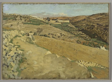 James Tissot (French, 1836-1902). <em>Jerusalem and Siloam, South Side (Jérusalem et Siloé. Côté sud.)</em>, 1886-1894. Oil on board, 14 7/16 x 20 1/16 in.  (36.7 x 51.0 cm). Brooklyn Museum, Purchased by public subscription, 00.159.2 (Photo: Brooklyn Museum, 00.159.2_PS2.jpg)