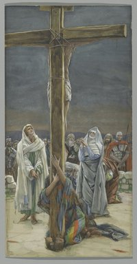 James Tissot (French, 1836-1902). <em>Woman, Behold Thy Son (Stabat Mater)</em>, 1886-1894. Opaque watercolor over graphite on gray wove paper, Image: 11 11/16 x 6 in. (29.7 x 15.2 cm). Brooklyn Museum, Purchased by public subscription, 00.159.300 (Photo: Brooklyn Museum, 00.159.300_PS2.jpg)