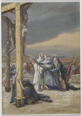 James Tissot (French, 1836-1902). <em>The Sorrowful Mother (Mater Dolorosa)</em>, 1886-1894. Opaque watercolor over graphite on gray wove paper, Image: 12 7/8 x 9 1/16 in. (32.7 x 23 cm). Brooklyn Museum, Purchased by public subscription, 00.159.301 (Photo: Brooklyn Museum, 00.159.301_PS2.jpg)