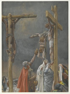 "James Tissot (French, 1836-1902). <em>""I Thirst"": The Vinegar Given to Jesus (""J'ai soif.""  Le vinaigre donné à Jésus)</em>, 1886-1894. Opaque watercolor over graphite on gray wove paper, Image: 10 1/16 x 7 3/8 in. (25.6 x 18.7 cm). Brooklyn Museum, Purchased by public subscription, 00.159.303 (Photo: Brooklyn Museum, 00.159.303_PS2.jpg)"