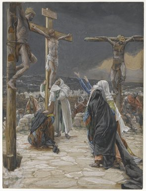 James Tissot (French, 1836-1902). <em>The Death of Jesus (La mort de Jésus)</em>, 1886-1894. Opaque watercolor over graphite on gray wove paper, Image: 9 9/16 x 7 1/4 in. (24.3 x 18.4 cm). Brooklyn Museum, Purchased by public subscription, 00.159.305 (Photo: Brooklyn Museum, 00.159.305_PS1.jpg)