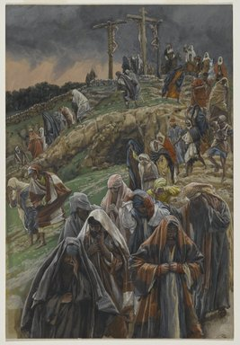 James Tissot (French, 1836-1902). <em>The Crowd Left Calvary While Beating Their Breasts (La foule quitte le calvaire en se frappant la poitrine)</em>, 1886-1894. Opaque watercolor over graphite on gray wove paper, Image: 11 11/16 x 7 15/16 in. (29.7 x 20.2 cm). Brooklyn Museum, Purchased by public subscription, 00.159.306 (Photo: Brooklyn Museum, 00.159.306_PS2.jpg)