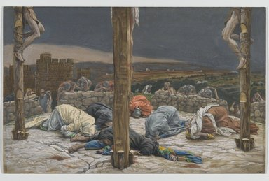James Tissot (French, 1836-1902). <em>The Earthquake (Le tremblement de terre )</em>, 1886-1894. Opaque watercolor over graphite on gray wove paper, Image: 9 1/2 x 14 15/16 in. (24.1 x 37.9 cm). Brooklyn Museum, Purchased by public subscription, 00.159.307 (Photo: Brooklyn Museum, 00.159.307_PS2.jpg)