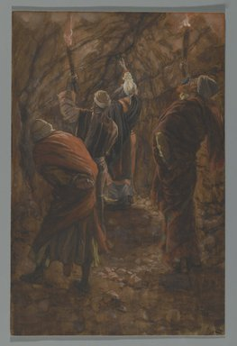 James Tissot (French, 1836-1902). <em>The Chasm in the Rock in the Cave Beneath Calvary (La fente du rocher dans la grotte sous le calvaire)</em>, 1886-1894. Opaque watercolor over graphite on gray wove paper, Image: 9 7/8 x 6 1/2 in. (25.1 x 16.5 cm). Brooklyn Museum, Purchased by public subscription, 00.159.308 (Photo: Brooklyn Museum, 00.159.308_PS2.jpg)