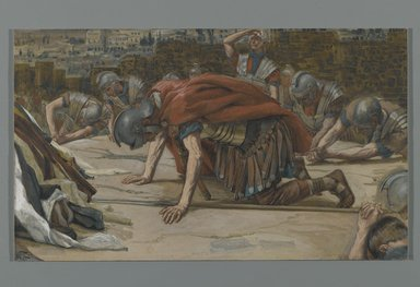 James Tissot (French, 1836-1902). <em>The Confession of the Centurion (La Confession du Centurion)</em>, 1886-1894. Opaque watercolor over graphite on gray wove paper, Image: 6 7/16 x 10 7/8 in. (16.4 x 27.6 cm). Brooklyn Museum, Purchased by public subscription, 00.159.309 (Photo: Brooklyn Museum, 00.159.309_PS2.jpg)