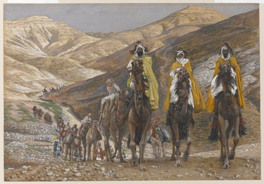 James Tissot (French, 1836-1902). <em>The Magi Journeying (Les rois mages en voyage)</em>, 1886-1894. Opaque watercolor over graphite on gray wove paper, Image: 7 15/16 x 11 1/2 in. (20.2 x 29.2 cm). Brooklyn Museum, Purchased by public subscription, 00.159.30 (Photo: Brooklyn Museum, 00.159.30_PS1.jpg)