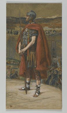James Tissot (French, 1836-1902). <em>The Centurion (Le Centurion)</em>, 1886-1894. Opaque watercolor over graphite on gray wove paper, Image: 9 13/16 x 5 3/16 in. (24.9 x 13.2 cm). Brooklyn Museum, Purchased by public subscription, 00.159.310 (Photo: Brooklyn Museum, 00.159.310_PS2.jpg)