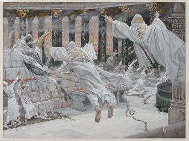 James Tissot (French, 1836-1902). <em>The Dead Appear in the Temple (Les morts apparaissent dans le Temple)</em>, 1886-1894. Opaque watercolor over graphite on gray wove paper, Image: 8 7/16 x 11 3/16 in. (21.4 x 28.4 cm). Brooklyn Museum, Purchased by public subscription, 00.159.311 (Photo: Brooklyn Museum, 00.159.311_PS2.jpg)