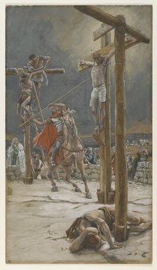 James Tissot (French, 1836-1902). <em>The Strike of the Lance (Le coup de lance)</em>, 1886-1894. Opaque watercolor over graphite on gray wove paper, Image: 14 3/8 x 8 3/16 in. (36.5 x 20.8 cm). Brooklyn Museum, Purchased by public subscription, 00.159.315 (Photo: Brooklyn Museum, 00.159.315_PS2.jpg)