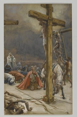 James Tissot (French, 1836-1902). <em>The Confession of Saint Longinus (Confession de Saint Longin)</em>, 1886-1894. Opaque watercolor over graphite on gray wove paper, Image: 8 7/8 x 5 1/2 in. (22.5 x 14 cm). Brooklyn Museum, Purchased by public subscription, 00.159.316 (Photo: Brooklyn Museum, 00.159.316_PS2.jpg)