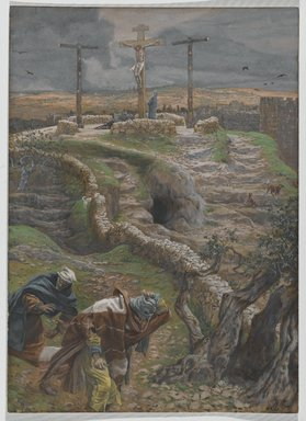 James Tissot (French, 1836-1902). <em>Jesus Alone on the Cross (Jésus seul sur la Croix)</em>, 1886-1894. Opaque watercolor over graphite on gray wove paper, Image: 11 3/8 x 8 3/16 in. (28.9 x 20.8 cm). Brooklyn Museum, Purchased by public subscription, 00.159.317 (Photo: Brooklyn Museum, 00.159.317_PS2.jpg)