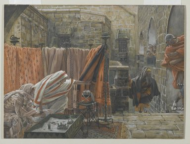 James Tissot (French, 1836-1902). <em>Joseph of Arimathaea Seeks Pilate to Beg Permission to Remove the Body of Jesus (Joseph d'Arimathie va trouver Pilate pour lui demander la permission d'enlever le corps de Jésus)</em>, 1886-1894. Opaque watercolor over graphite on gray wove paper, Image: 8 15/16 x 12 1/8 in. (22.7 x 30.8 cm). Brooklyn Museum, Purchased by public subscription, 00.159.318 (Photo: Brooklyn Museum, 00.159.318_PS2.jpg)