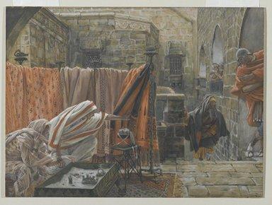 James Tissot (French, 1836-1902). <em>Joseph of Arimathaea Seeks Pilate to Beg Permission to Remove the Body of Jesus (Joseph d'Arimathie va trouver Pilate pour lui demander la permission d'enlever le corps de Jésus)</em>, 1886-1894. Opaque watercolor over graphite on gray wove paper, Image: 8 15/16 x 12 1/8 in. (22.7 x 30.8 cm). Brooklyn Museum, Purchased by public subscription, 00.159.318 (Photo: Brooklyn Museum, 00.159.318_PS2.jpg)