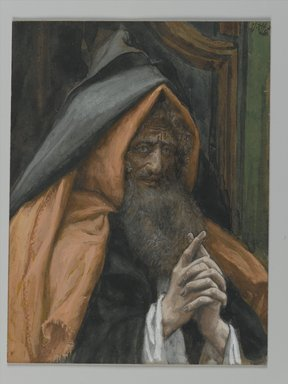 James Tissot (French, 1836-1902). <em>Joseph of Arimathaea (Joseph d'Arimathie)</em>, 1886-1894. Opaque watercolor over graphite on gray wove paper, Image: 5 11/16 x 4 5/16 in. (14.4 x 11 cm). Brooklyn Museum, Purchased by public subscription, 00.159.319 (Photo: Brooklyn Museum, 00.159.319_PS2.jpg)