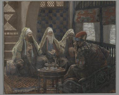 James Tissot (French, 1836-1902). <em>The Magi in the House of Herod (Les rois mages chez Hérode)</em>, 1886-1894. Opaque watercolor over graphite on gray wove paper, Image: 5 3/8 x 6 3/8 in. (13.7 x 16.2 cm). Brooklyn Museum, Purchased by public subscription, 00.159.31 (Photo: Brooklyn Museum, 00.159.31_PS2.jpg)