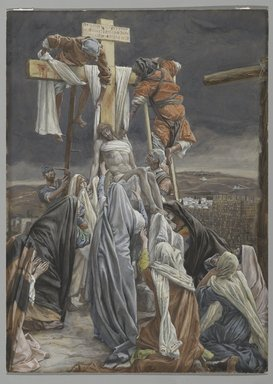 James Tissot (French, 1836-1902). <em>The Descent from the Cross (La descent de croix)</em>, 1886-1894. Opaque watercolor over graphite on gray wove paper, Image: 13 1/4 x 9 9/16 in. (33.7 x 24.3 cm). Brooklyn Museum, Purchased by public subscription, 00.159.320 (Photo: Brooklyn Museum, 00.159.320_PS2.jpg)