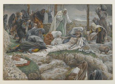 James Tissot (French, 1836-1902). <em>The Holy Virgin Receives the Body of Jesus (La Sainte Vierge reçoit le corps de Jésus)</em>, 1886-1894. Opaque watercolor over graphite on gray wove paper, Image: 10 5/8 x 15 1/16 in. (27 x 38.3 cm). Brooklyn Museum, Purchased by public subscription, 00.159.321 (Photo: Brooklyn Museum, 00.159.321_PS2.jpg)