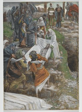 James Tissot (French, 1836-1902). <em>The Body of Jesus Carried to the Anointing Stone (Le corps de Jésus porté à la pierre de l'onction)</em>, 1886-1894. Opaque watercolor over graphite on gray wove paper, Image: 14 11/16 x 10 1/4 in. (37.3 x 26 cm). Brooklyn Museum, Purchased by public subscription, 00.159.322 (Photo: Brooklyn Museum, 00.159.322_PS2.jpg)