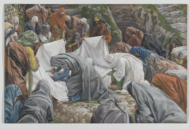 James Tissot (French, 1836-1902). <em>The Holy Virgin Kisses the Face of Jesus Before He is Enshrouded on the Anointing Stone (La Sainte Vierge baise la face de Jésus avant qu'il ne soit enveloppé par les suaires sur la pierre de l'onction)</em>, 1886-1894. Opaque watercolor over graphite on gray wove paper, Image: 9 13/16 x 14 7/8 in. (24.9 x 37.8 cm). Brooklyn Museum, Purchased by public subscription, 00.159.323 (Photo: Brooklyn Museum, 00.159.323_PS2.jpg)