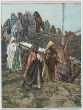 James Tissot (French, 1836-1902). <em>Jesus Carried to the Tomb (Jésus porté au tombeau)</em>, 1886-1894. Opaque watercolor over graphite on gray wove paper, Image: 13 1/4 x 10 1/8 in. (33.7 x 25.7 cm). Brooklyn Museum, Purchased by public subscription, 00.159.324 (Photo: Brooklyn Museum, 00.159.324_PS2.jpg)