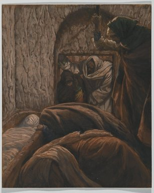 James Tissot (French, 1836-1902). <em>Jesus in the Sepulchre (Jésus dans le sépulcre)</em>, 1886-1894. Opaque watercolor over graphite on gray wove paper, Image: 10 x 8 3/16 in. (25.4 x 20.8 cm). Brooklyn Museum, Purchased by public subscription, 00.159.325 (Photo: Brooklyn Museum, 00.159.325_PS2.jpg)