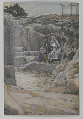 James Tissot (French, 1836-1902). <em>The Two Marys Watch the Tomb (Les deux Maries observent le tombeau)</em>, 1886-1894. Opaque watercolor over graphite on gray wove paper, Image: 7 11/16 x 5 3/16 in. (19.5 x 13.2 cm). Brooklyn Museum, Purchased by public subscription, 00.159.326 (Photo: Brooklyn Museum, 00.159.326_PS2.jpg)