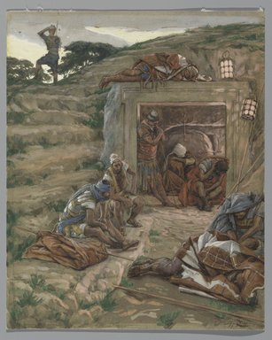 James Tissot (French, 1836-1902). <em>The Watch Over the Tomb (La garde du Tombeau)</em>, 1886-1894. Opaque watercolor over graphite on gray wove paper, Image: 10 5/8 x 8 5/8 in. (27 x 21.9 cm). Brooklyn Museum, Purchased by public subscription, 00.159.327 (Photo: Brooklyn Museum, 00.159.327_PS2.jpg)