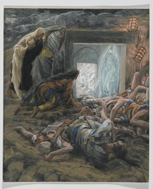 James Tissot (French, 1836-1902). <em>Mary Magdalene and the Holy Women at the Tomb (Madeleine et les saintes femmes au tombeau)</em>, 1886-1894. Opaque watercolor over graphite on gray wove paper, Image: 9 15/16 x 8 3/8 in. (25.2 x 21.3 cm). Brooklyn Museum, Purchased by public subscription, 00.159.329 (Photo: Brooklyn Museum, 00.159.329_PS2.jpg)