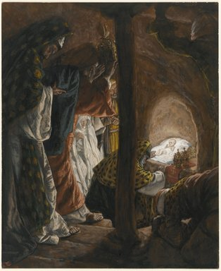 James Tissot (French, 1836-1902). <em>The Adoration of the Magi (L'adoration des mages)</em>, 1886-1894. Opaque watercolor over graphite on gray wove paper, Image: 9 15/16 x 8 1/8 in. (25.2 x 20.6 cm). Brooklyn Museum, Purchased by public subscription, 00.159.32 (Photo: Brooklyn Museum, 00.159.32_PS1.jpg)