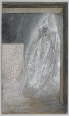 James Tissot (French, 1836-1902). <em>The Angel Seated on the Stone of the Tomb (L'ange assis sur la pierre du tombeau)</em>, 1886-1894. Opaque watercolor over graphite on gray wove paper, Image: 9 1/8 x 5 3/8 in. (23.2 x 13.7 cm). Brooklyn Museum, Purchased by public subscription, 00.159.330 (Photo: Brooklyn Museum, 00.159.330_PS1.jpg)