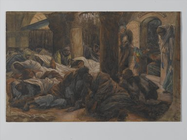 James Tissot (French, 1836-1902). <em>The Magdalene Runs to the Cenacle to Tell the Apostles that the Body of Jesus is No Longer in the Tomb (Madeleine court au cénacle et avertit les apôtres que le corps de Jésus n'est plus dans le tombeau)</em>, 1886-1894. Opaque watercolor over graphite on gray wove paper, Image: 7 1/4 x 11 5/16 in. (18.4 x 28.7 cm). Brooklyn Museum, Purchased by public subscription, 00.159.331 (Photo: Brooklyn Museum, 00.159.331_PS2.jpg)