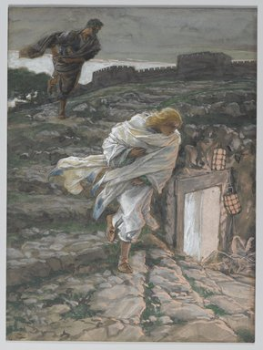 James Tissot (French, 1836-1902). <em>Saint Peter and Saint John Run to the Sepulchre (Saint Pierre et Saint Jean courent au sépulcre)</em>, 1886-1894. Opaque watercolor over graphite on gray wove paper, Image: 8 3/16 x 6 1/8 in. (20.8 x 15.6 cm). Brooklyn Museum, Purchased by public subscription, 00.159.332 (Photo: Brooklyn Museum, 00.159.332_PS2.jpg)