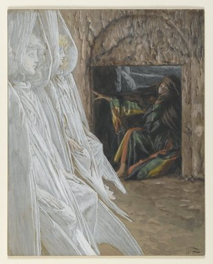 James Tissot (French, 1836-1902). <em>Mary Magdalene Questions the Angels in the Tomb (Madeleine dans le tombeau interroge les anges)</em>, 1886-1894. Opaque watercolor over graphite on gray wove paper, Image: 7 1/4 x 5 3/4 in. (18.4 x 14.6 cm). Brooklyn Museum, Purchased by public subscription, 00.159.333 (Photo: Brooklyn Museum, 00.159.333_PS2.jpg)