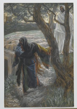 James Tissot (French, 1836-1902). <em>Jesus Appears to Mary Magdalene (Apparition de Jésus à Madeleine)</em>, 1886-1894. Opaque watercolor over graphite on gray wove paper, Image: 8 15/16 x 6 1/16 in. (22.7 x 15.4 cm). Brooklyn Museum, Purchased by public subscription, 00.159.334 (Photo: Brooklyn Museum, 00.159.334_PS2.jpg)