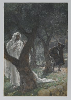 James Tissot (French, 1836-1902). <em>Apparition of Our Lord to Saint Peter (Apparition de Notre-Seigneur à St-Pierre)</em>, 1886-1894. Opaque watercolor over graphite on gray wove paper, Image: 11 1/2 x 7 15/16 in. (29.2 x 20.2 cm). Brooklyn Museum, Purchased by public subscription, 00.159.336 (Photo: Brooklyn Museum, 00.159.336_PS2.jpg)