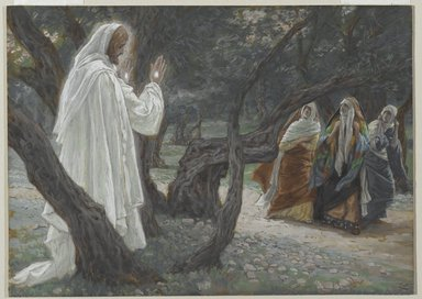 James Tissot (French, 1836-1902). <em>Jesus Appears to the Holy Women (Apparition de Jésus aux saintes femmes)</em>, 1886-1894. Opaque watercolor over graphite on gray wove paper, Image: 7 13/16 x 10 7/8 in. (19.8 x 27.6 cm). Brooklyn Museum, Purchased by public subscription, 00.159.337 (Photo: Brooklyn Museum, 00.159.337_PS2.jpg)
