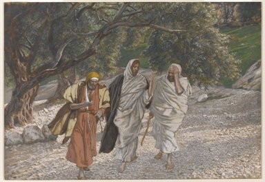 James Tissot (French, 1836-1902). <em>The Pilgrims of Emmaus on the Road (Les pèlerins d'Emmaüs en chemin)</em>, 1886-1894. Opaque watercolor over graphite on gray wove paper, Image: 7 7/16 x 10 5/8 in. (18.9 x 27 cm). Brooklyn Museum, Purchased by public subscription, 00.159.338 (Photo: Brooklyn Museum, 00.159.338_PS1.jpg)