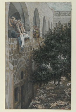 James Tissot (French, 1836-1902). <em>The Massacre of the Innocents (Le massacre des innocents)</em>, 1886-1894. Opaque watercolor over graphite on gray wove paper, Image: 10 5/8 x 6 1/2 in. (27 x 16.5 cm). Brooklyn Museum, Purchased by public subscription, 00.159.33 (Photo: Brooklyn Museum, 00.159.33_PS2.jpg)