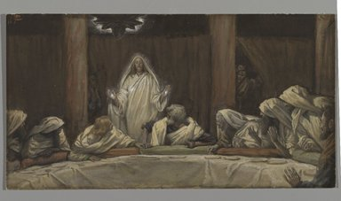 James Tissot (French, 1836-1902). <em>The Appearance of Christ at the Cenacle (Apparition du Christ au cénacle)</em>, 1886-1894. Opaque watercolor over graphite on gray wove paper, Image: 5 1/2 x 10 1/4 in. (14 x 26 cm). Brooklyn Museum, Purchased by public subscription, 00.159.340 (Photo: Brooklyn Museum, 00.159.340_PS2.jpg)
