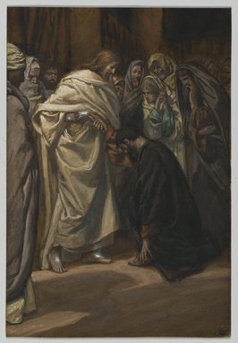 James Tissot (French, 1836-1902). <em>The Disbelief of Saint Thomas (Incredulité de Saint Thomas)</em>, 1886-1894. Opaque watercolor over graphite on gray wove paper, Image: 7 13/16 x 5 5/16 in. (19.8 x 13.5 cm). Brooklyn Museum, Purchased by public subscription, 00.159.341 (Photo: Brooklyn Museum, 00.159.341_PS2.jpg)