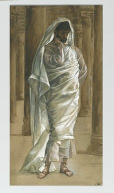 James Tissot (French, 1836-1902). <em>Saint Thomas</em>, 1886-1894. Opaque watercolor over graphite on gray wove paper, Image: 12 13/16 x 6 5/16 in. (32.5 x 16 cm). Brooklyn Museum, Purchased by public subscription, 00.159.342 (Photo: Brooklyn Museum, 00.159.342_PS2.jpg)