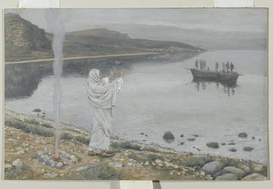 James Tissot (French, 1836-1902). <em>Christ Appears on the Shore of Lake Tiberias (Apparition du Christ sur les bords du lac de Tibériade)</em>, 1886-1894. Opaque watercolor over graphite on gray wove paper, Image: 5 7/8 x 9 1/16 in. (14.9 x 23 cm). Brooklyn Museum, Purchased by public subscription, 00.159.343 (Photo: Brooklyn Museum, 00.159.343_PS2.jpg)
