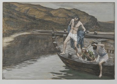 James Tissot (French, 1836-1902). <em>Saint Peter Alerted by Saint John to the Presence of the Lord Casts Himself into the Water (Saint Pierre averti par Saint Jean que le Seigneur est là se jette à l'eau)</em>, 1886-1894. Opaque watercolor over graphite on gray wove paper, Image: 6 5/16 x 9 in. (16 x 22.9 cm). Brooklyn Museum, Purchased by public subscription, 00.159.344 (Photo: Brooklyn Museum, 00.159.344_PS2.jpg)