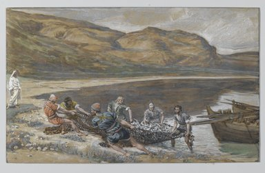 James Tissot (French, 1836-1902). <em>The Second Miraculous Draught of Fishes (La seconde pêche miraculeuse)</em>, 1886-1894. Opaque watercolor over graphite on gray wove paper, Image: 6 1/8 x 10 in. (15.6 x 25.4 cm). Brooklyn Museum, Purchased by public subscription, 00.159.345 (Photo: Brooklyn Museum, 00.159.345_PS2.jpg)